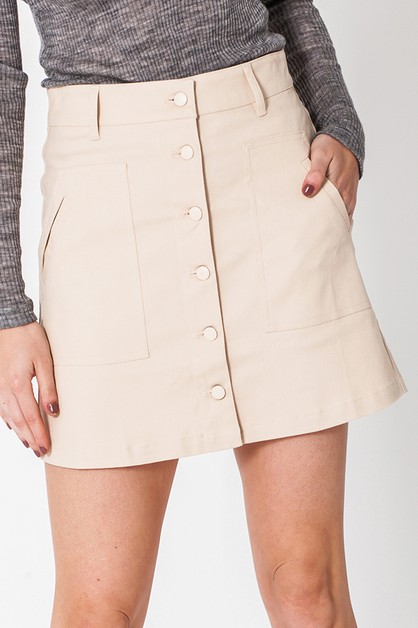 BUTTON UP SKIRT WITH POCKETS - orangeshine.com