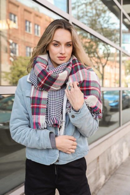 Classic Plaid Blanket Scarf - orangeshine.com