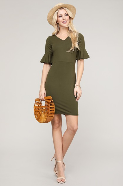 FLUTTER RUFFLED SLEEVE BODYCON DRESS - orangeshine.com