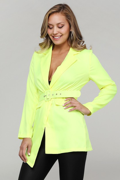 Bright Waist Belted Blazer Suit - orangeshine.com