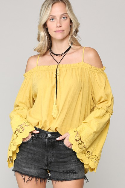POLKA DOT TEXTURED OFF SHOULDER TOP - orangeshine.com