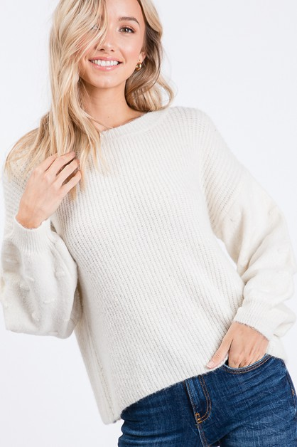 SOLID ROUND NECK KNIT TOP - orangeshine.com