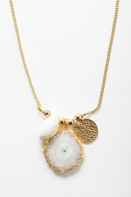 Crystal Shell Pendant Chain Necklace - orangeshine.com