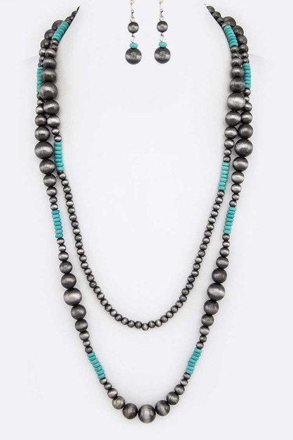 Navajo Beads Long Necklace Set - orangeshine.com