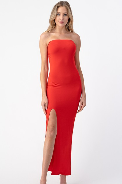 SLIT TUBE MAXI DRESS - orangeshine.com