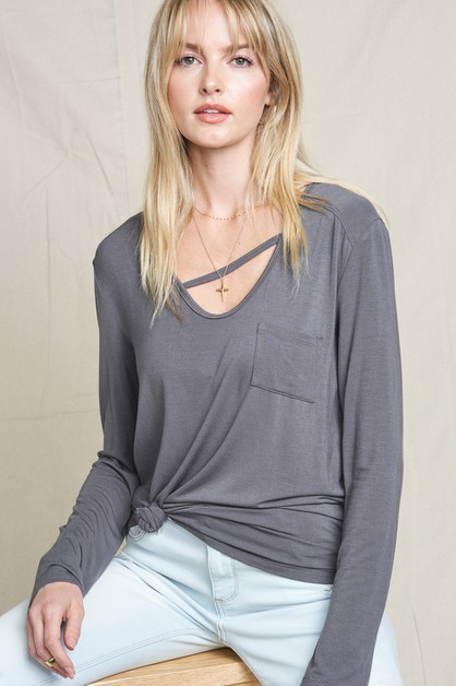 Casual V-neck Long Sleeve Top  - orangeshine.com