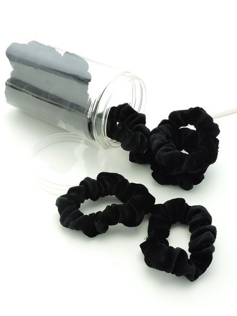 Mini Black Velvet Scrunchies - orangeshine.com