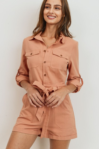 Button Down Pocket Long Sleeve Rompe - orangeshine.com