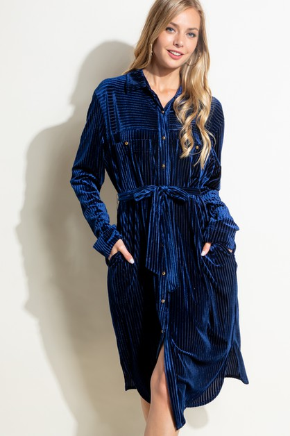 STRIPE VELVET WAIST TIE SHIRTS DRESS - orangeshine.com
