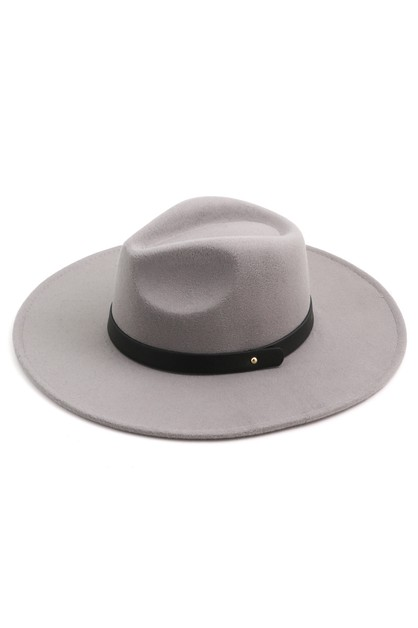 Leather Strap Fedora Hat - orangeshine.com