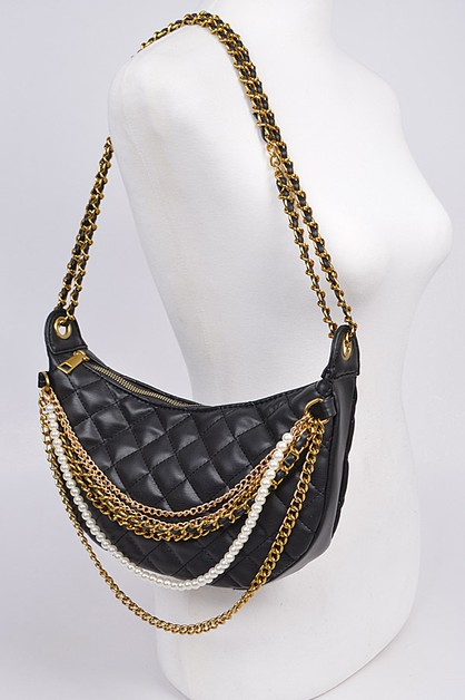Quilted Shoulder Bag with Chains - orangeshine.com
