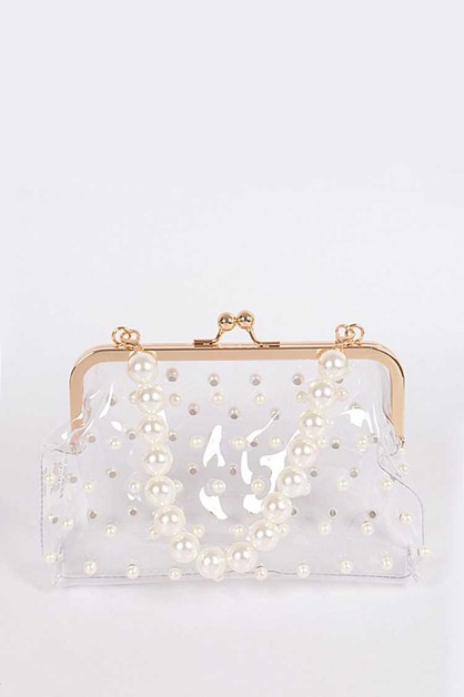 Pearl Studs Clear Iconic Purse Clutc - orangeshine.com