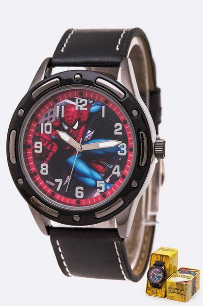 Spider Man Leather Band Watch Tin Bo - orangeshine.com