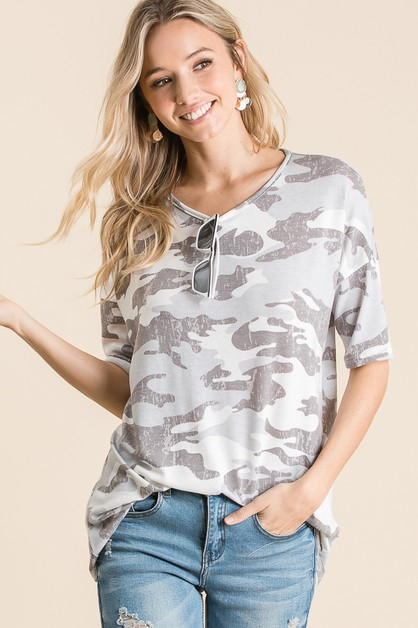 CAMOUFLAGE FRENCH TERRY TOP - orangeshine.com