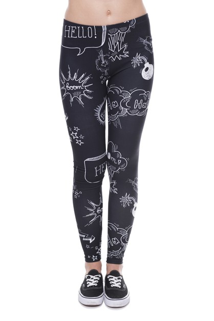 DOODLE BLACK Digital Print Leggings - orangeshine.com