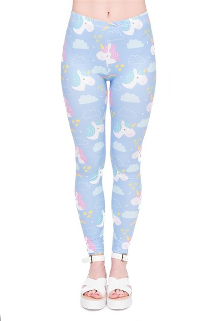 PINK BLUE UNICORN Print Leggings - orangeshine.com
