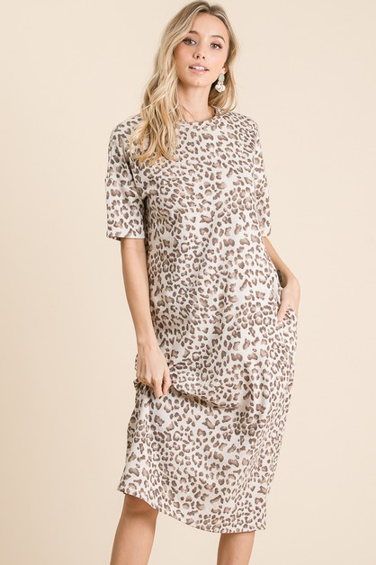 ANIMAL PRINT MIDI DRESS - orangeshine.com