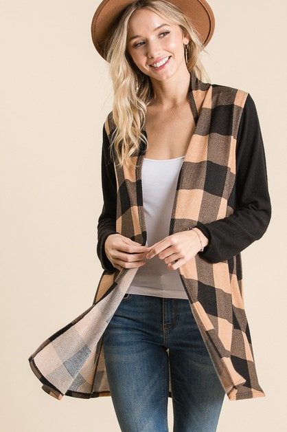 PLAID KNIT CARDIGAN - orangeshine.com
