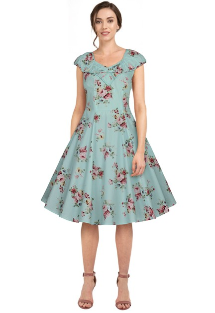 Plus Size Teal/Floral Ruffle Retro Dress - orangeshine.com