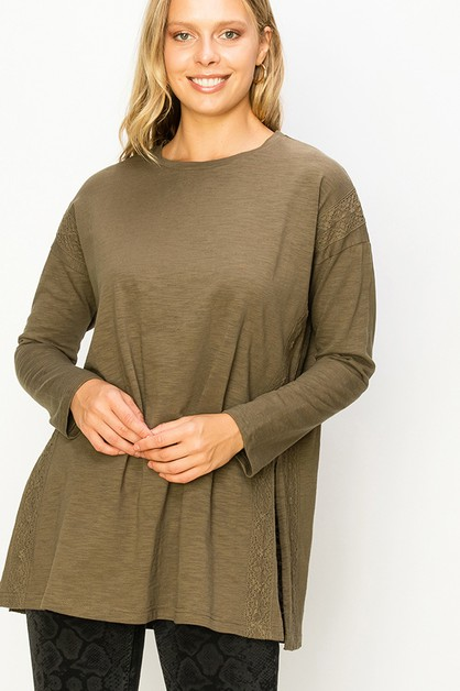 CREW NECK BURNOUT SIDE SLIT OVERSIZE - orangeshine.com