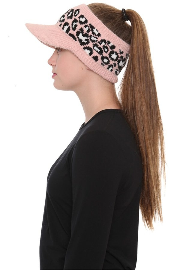 Assorted knit leopard print ponytail - orangeshine.com
