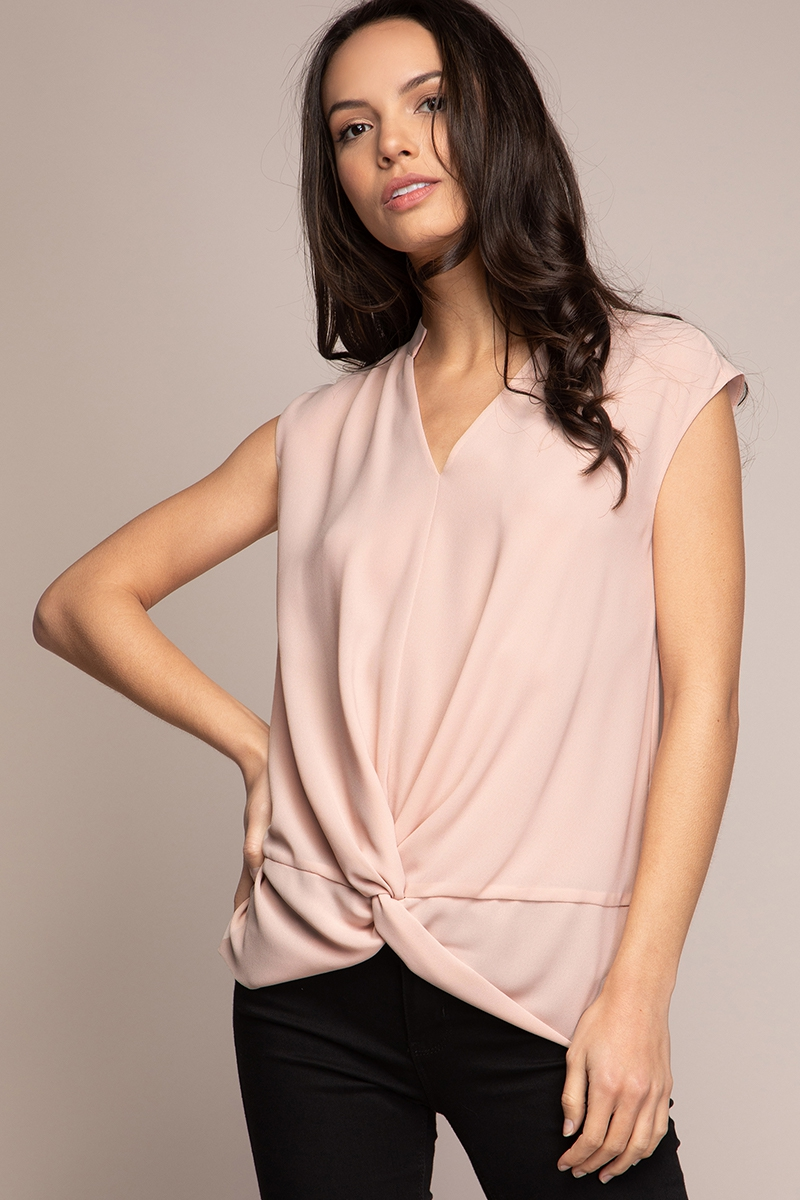 TANK V-NECK MANDARIN COLLAR TOP - orangeshine.com