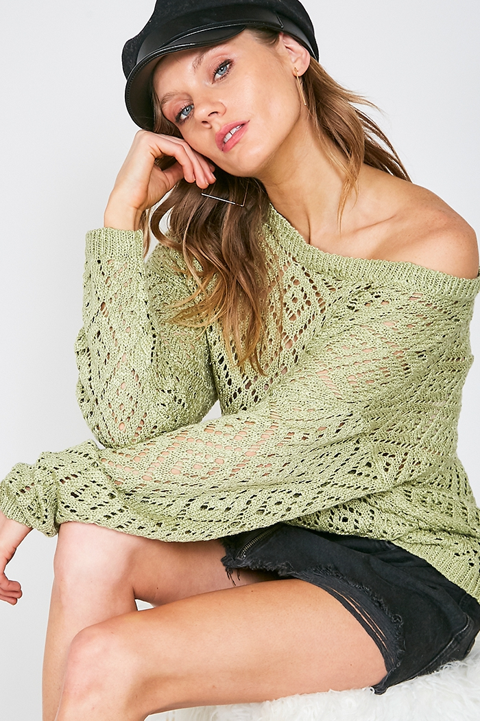 CUT OUT LOW GAGE LIGHT KNIT SWEATER - orangeshine.com