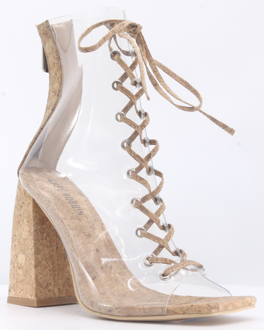 CLEAR PVC TRANSPARENT LACE UP BOOTIE - orangeshine.com