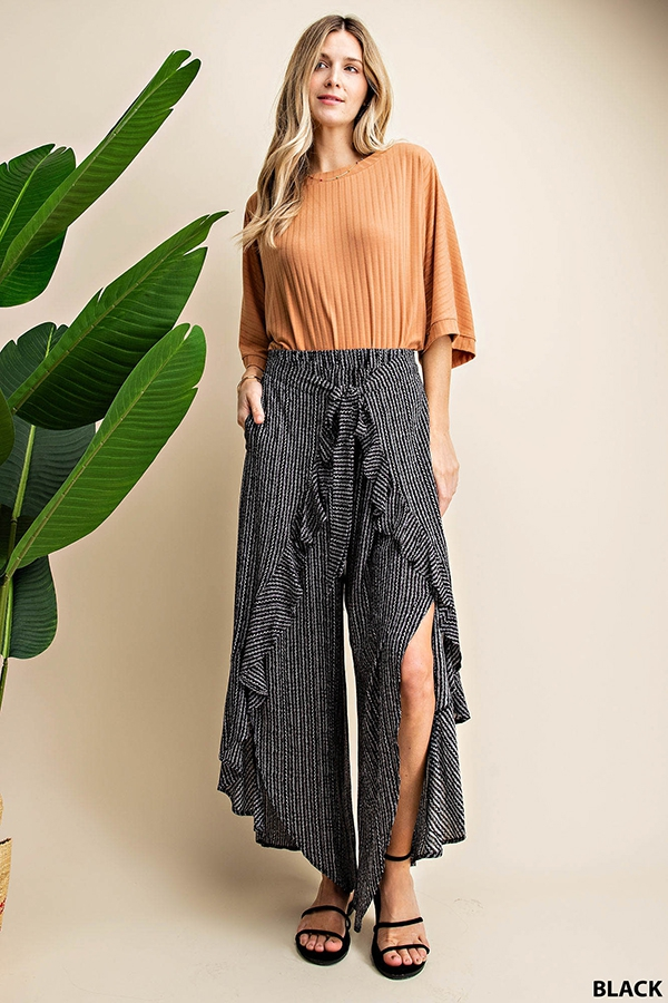 LOOP STRIPE  TIE FRONT PANTS - orangeshine.com