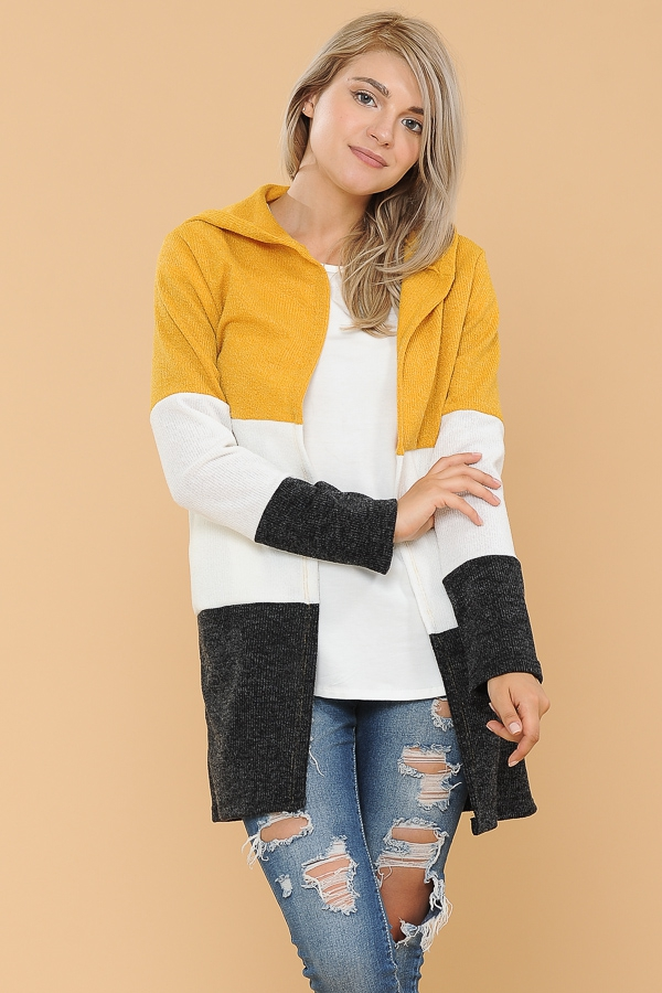 HOODIE COLOR BLOCK OPEN CARDIGAN - orangeshine.com