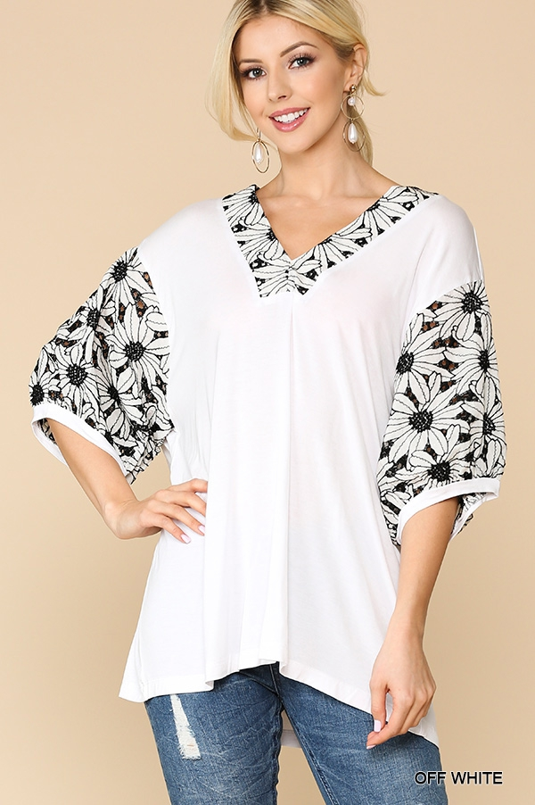 V-Neck Embroidery Sleeve Tunic Top - orangeshine.com