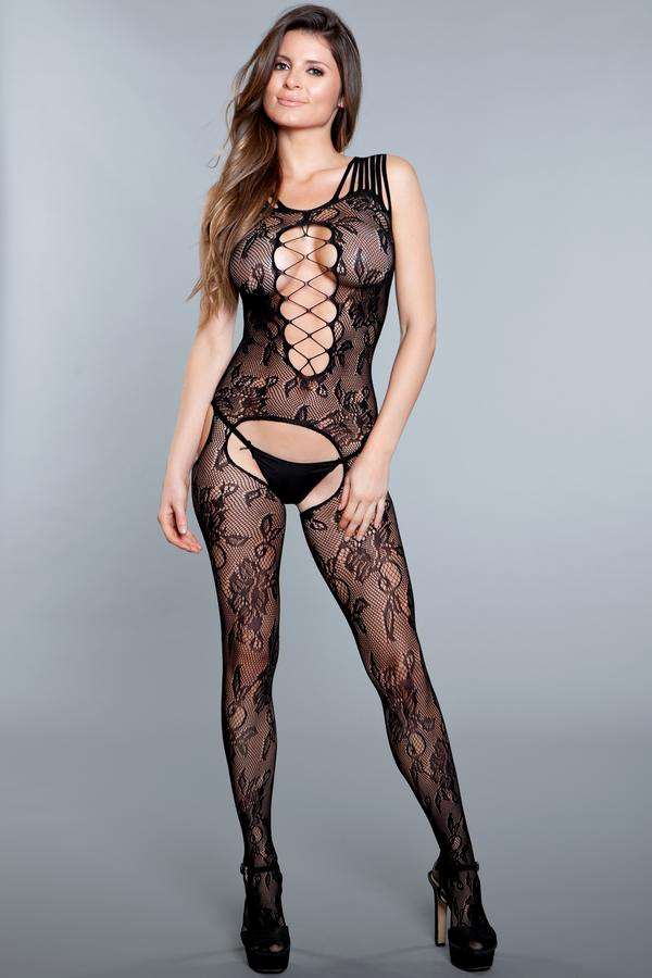 Criss Cross Crotchless Bodystocking - orangeshine.com
