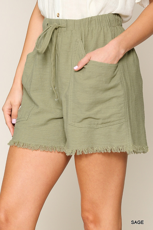 Frayed Hem Side Pocket Shorts  - orangeshine.com