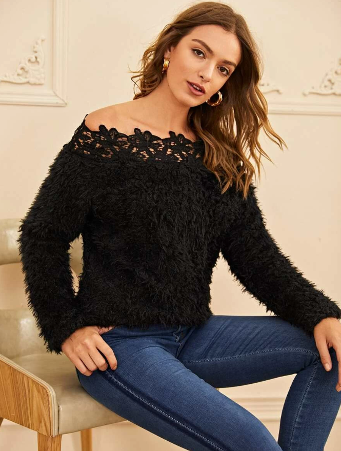 Lace Trim Off Shoulder Fuzzy Sweater - orangeshine.com
