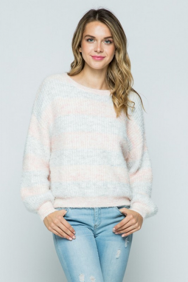 SOFT FUZZY BOAT NECK PULLOVER SWEATE - orangeshine.com