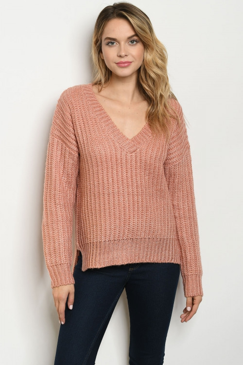 Long puff sleeve V-neck knit sweater - orangeshine.com