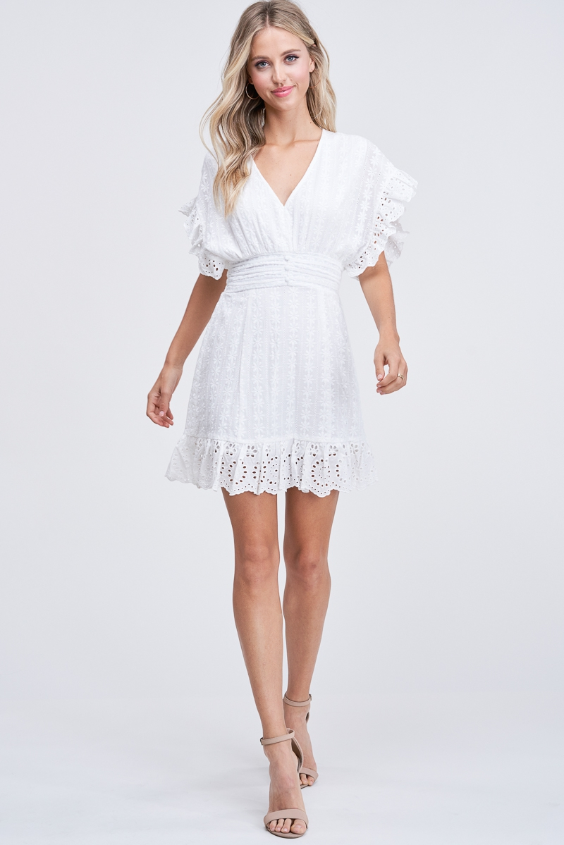 Eyelet Ruffle Detail Mini Dress - orangeshine.com