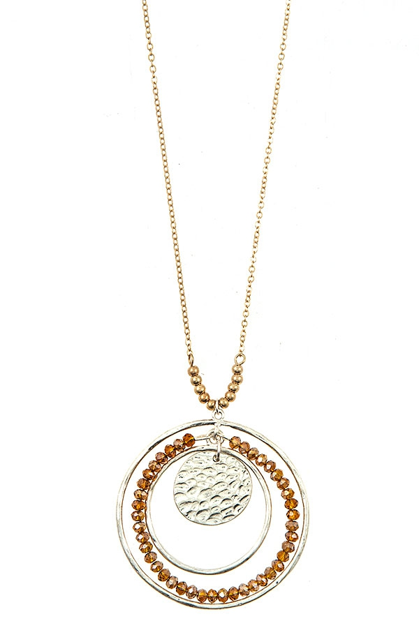 ELONGATED BEADED HAMMERED DISK PENDA - orangeshine.com