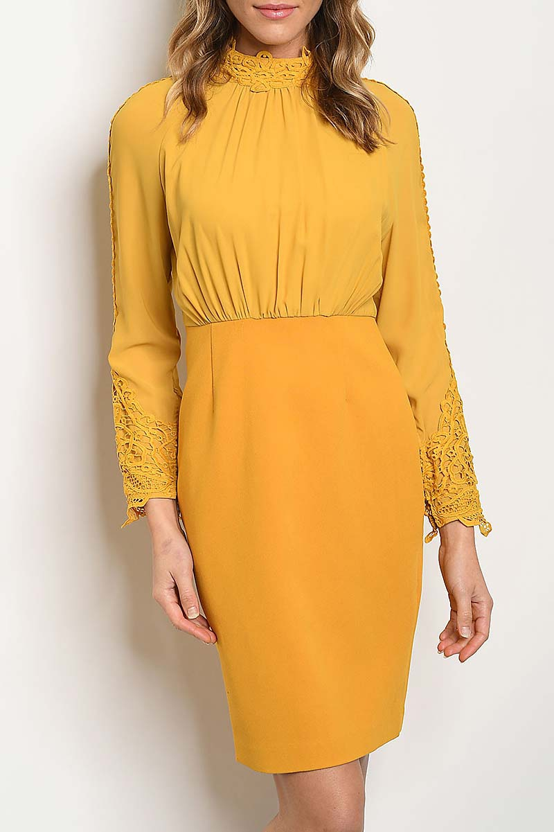 LACE TRIMMED BODY CON DRESS - orangeshine.com
