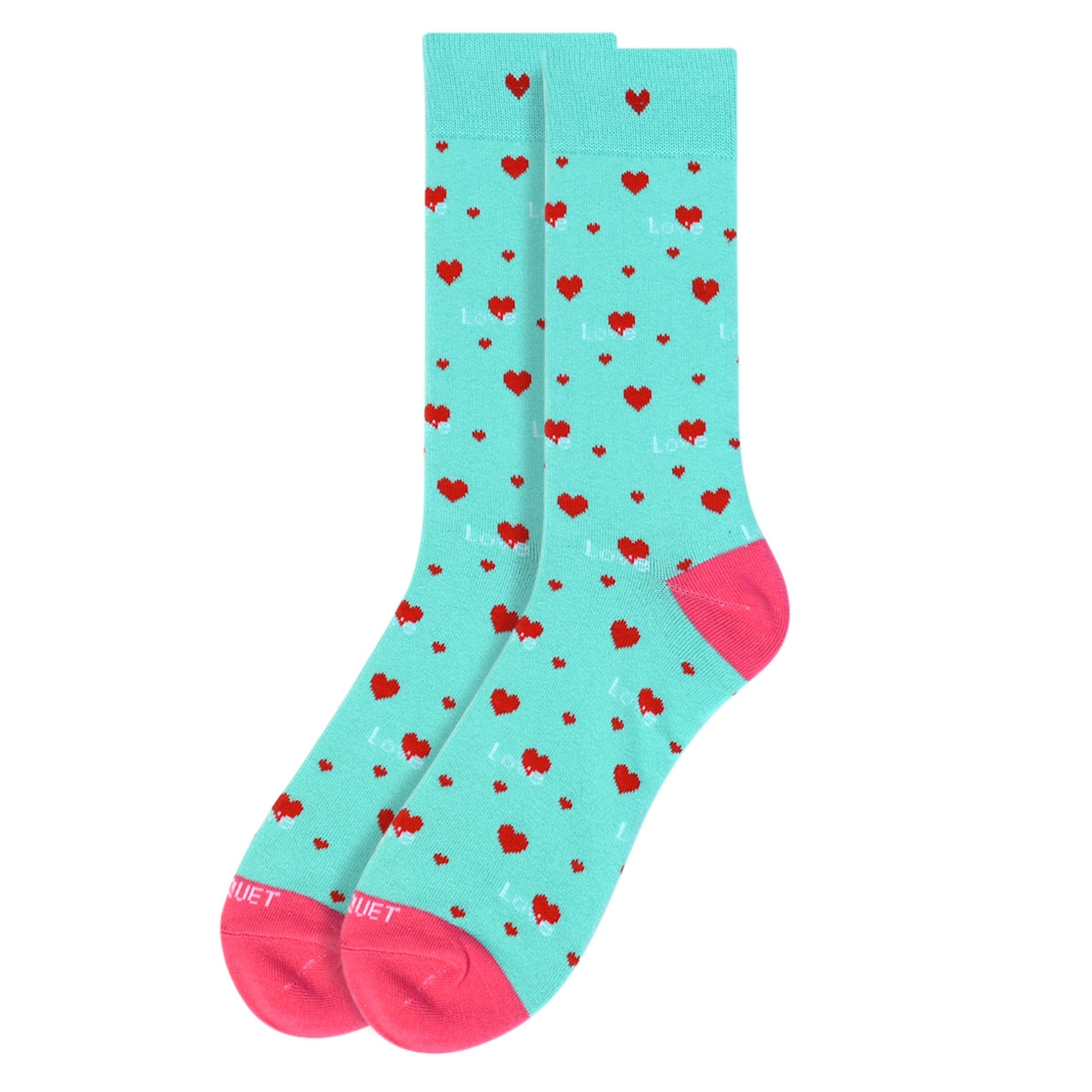 Men Love Heart Valentines Mint Socks - orangeshine.com