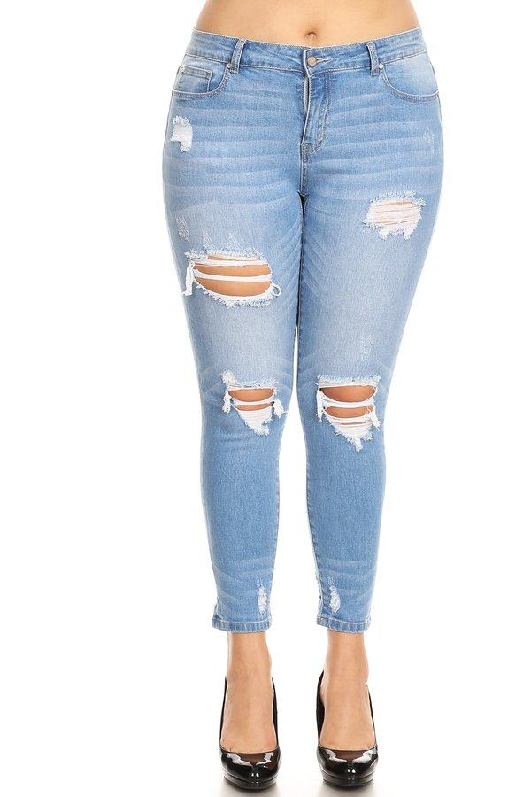 Plus Size Mid Rise Distressed - orangeshine.com