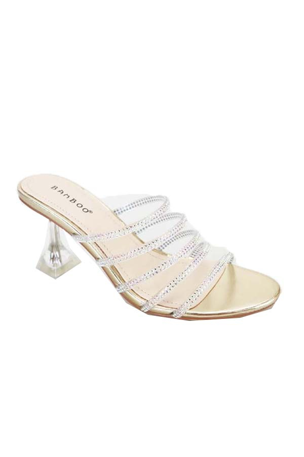 SLIP ON CLEAR HEEL METALLIC WITH MUL - orangeshine.com