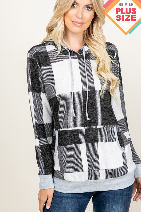 PLUS PLAID HOODED SWEATER TOP - orangeshine.com