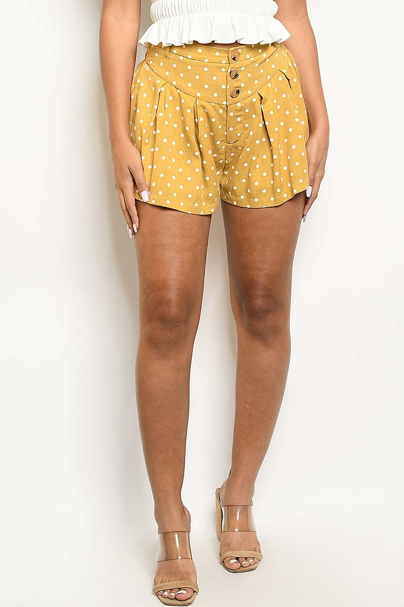 BUTTON FRONT POLKA DOT PRINT SHORT  - orangeshine.com
