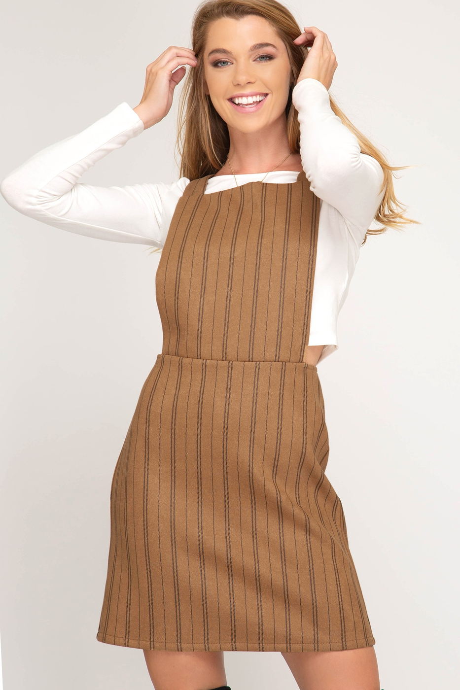 STRIPED FAUX SUEDE OVERALL DRESS - orangeshine.com