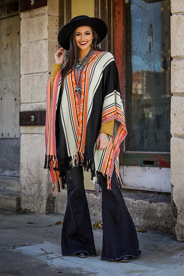BLACK AZTEC KNIT PONCHO WITH FRINGE - orangeshine.com