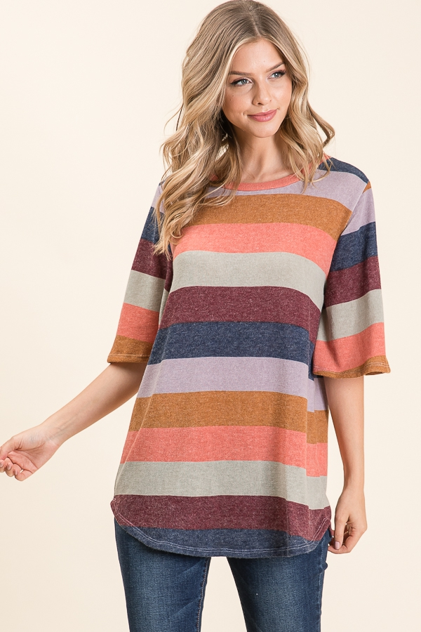LOOSE FIT BOLD STRIPE TOP - orangeshine.com