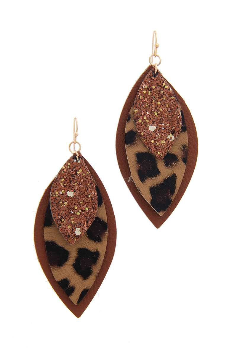 PU LEATHER POINTED DROP EARRING - orangeshine.com