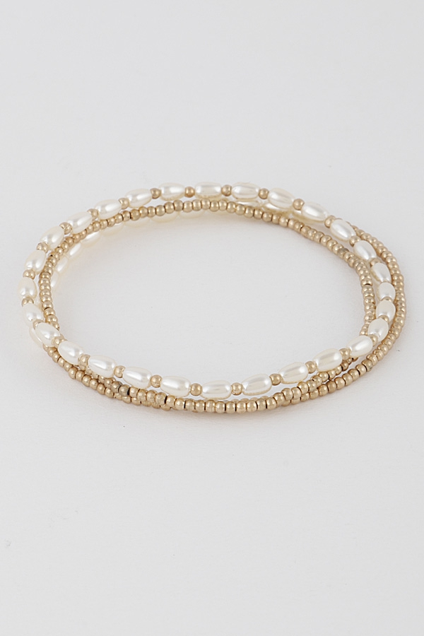 Gold N Cream Adjustable Bracelet Set - orangeshine.com