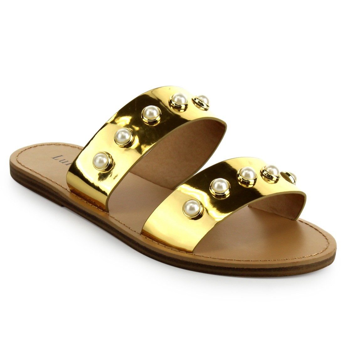 PEARL STRAP SANDALS SLIDES SLIPPERS - orangeshine.com